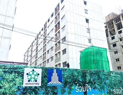 งานโครงสร้าง พื้นชั้นดาดฟ้า  แล้วเสร็จ 100%   อาคาร F6